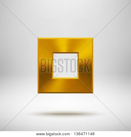 Gold abstract square badge, technology blank button template with metal texture, chrome, silver, steel and realistic shadow for logo, design concepts, apps, web and prints. Vector illustration.