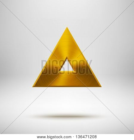 Gold abstract triangle badge, technology blank button template with metal texture, chrome, silver, steel and realistic shadow for logo, design concepts, apps, web and prints. Vector illustration.