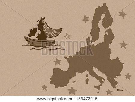 Britain leaves European Union vintage image map