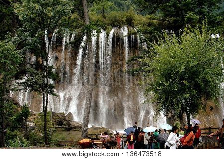 Jiu Zhai Guo, Sichuan China - August 22, 2006: The Nuorling Waterfall in Jiu Zhai Gou National Scenic Park