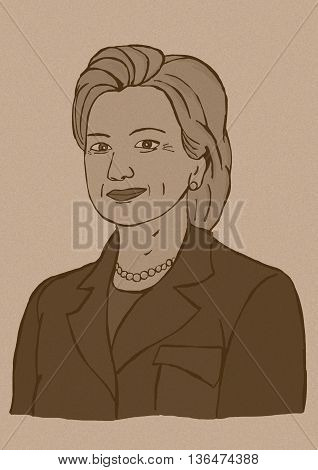 24 June2016. Vintage illustration of Hillary Clinton