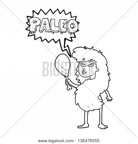 freehand drawn speech bubble cartoon woman on paleo diet