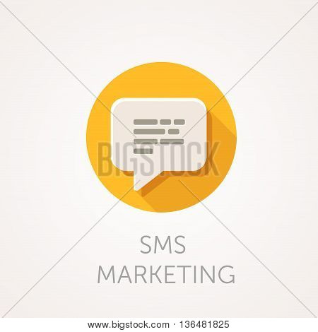 SMS marketing Icon. Flat design style with long shadow. Mobile marketing sms delivery message or e-mail icon. White speech bubble with text. App icon