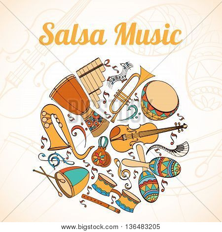 Salsa musical card. Invitation of latino musical instruments. Latino background can be used as invitation card for wedding, birthday and other holiday and summer background. Vector illustration.