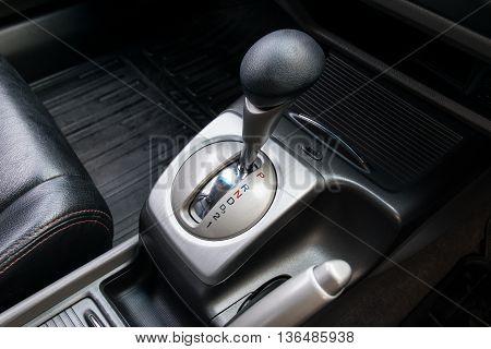 Car interior. Automatic transmission gear shift. interior, car, stick