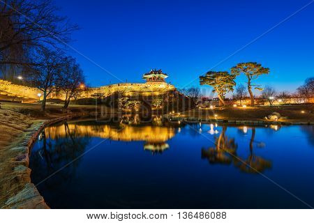 Reflection Of Suwon Hwaseong Fortres.korea