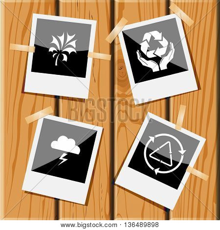 Nature set. Photo frames on wooden desk. Vector icons.