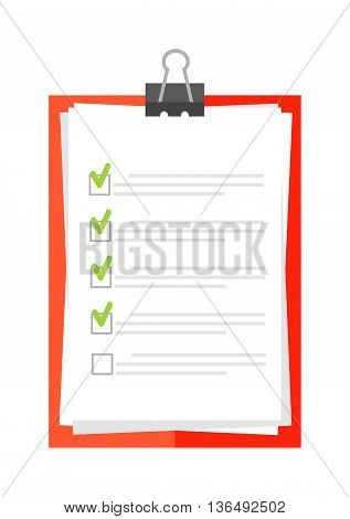 Clipboard document checklist test icon questionnaire symbol illustration. Symbol test icon and choice test icon. Paper test icon and report clipboard test icon. Test document