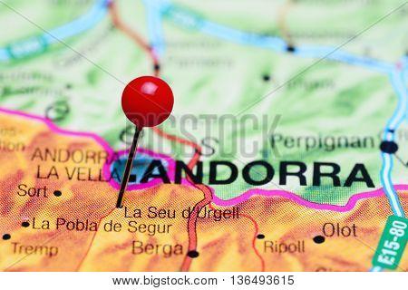 La Seu d Urgell pinned on a map of Spain