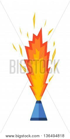 Pyrotechnic rockets vector illustration pyrotechnics and firework fountain, roman candle, beautiful rocket. Anniversary traditional evening pyrotechnic and firework sparkle bomb.