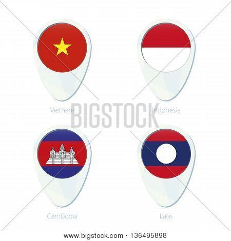 Vietnam, Indonesia, Cambodia, Laos Flag Location Map Pin Icon.