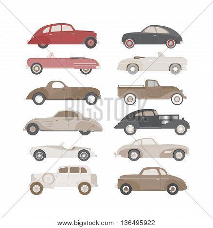 Retro cars icons set vintage vector. Classic transportation auto vehicle retro car. Retro car nostalgia automobile old design. Graphic emblem race engine machine shop antique wheels set.