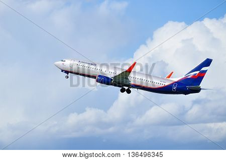 SAINT PETERSBURG RUSSIA - MAY 11 2016. VQ-BVP Aeroflot Boeing 737 Next Gen airplane. Airplane is flying after departure from Pulkovo airport.
