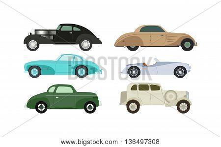 Retro cars icons vintage vector. Classic transportation auto vehicle retro car. Retro car nostalgia automobile old design. Graphic emblem race engine machine shop antique wheels set.