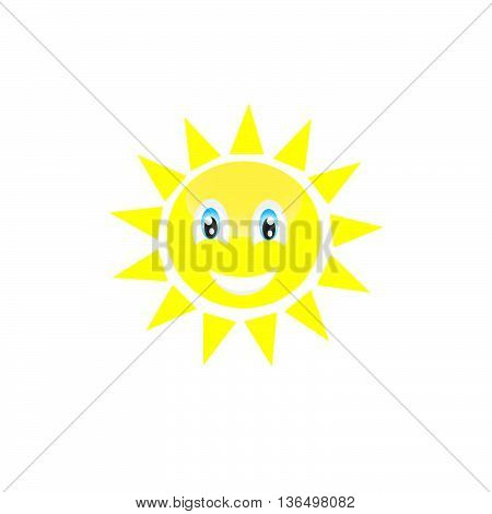 vector isolated sun smaile icon illustration on background