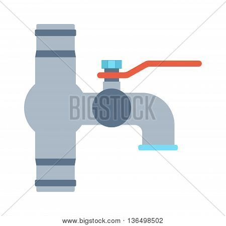 Kitchen water crane isolated on white background. Plumbing cold water crane shiny reflection crystal pure bathroom vector tool. Fashioned rich modern water crane dash current liquid equipment.