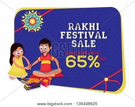Rakhi Festival Sale, Sale Poster, Sale Banner, Sale Flyer, Discount Upto 65%, Sale Background, Vector illustration of cute sister tying rakhi on her brother's wrist.