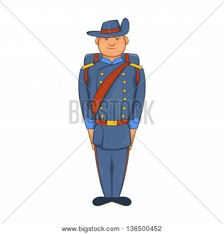 Man in a blue army uniform 19th century icon in cartoon style on a white background