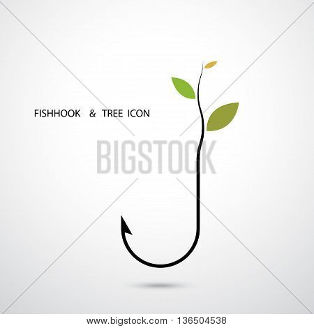 Fishhook Logo and Small Tree Icon.Plant Growing on Fishhook Icon.Green Eco Energy Concept.Fishhook Logo.Tree Logo.Green Logo.Vector illustration