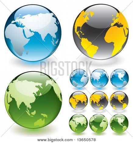 Vector globe aqua buttons. Fully editable.