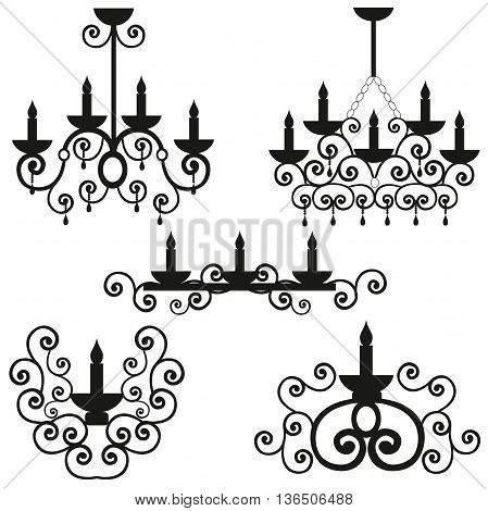 Chandeliers with a pattern on a ceiling, the burning candles in a candlestick, a black vector of lighting, design of a wall lamp, round curls from metal,