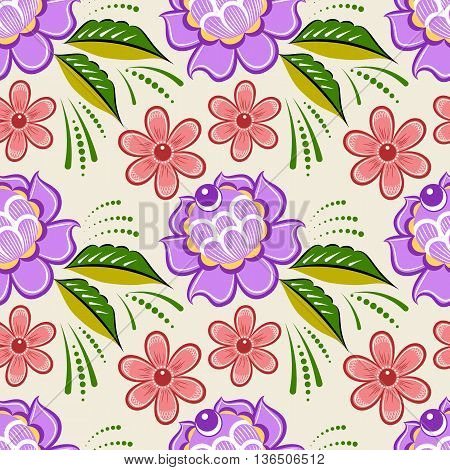 Seamless russian floral pattern. Russian handicraft. Gorodets painting. Vector illustration poster