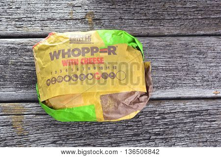 Kuala Lumpur, Malaysia - June 19 , 2016 : Whopper With Cheese. Burger King, Is A Global Chain Of Ham