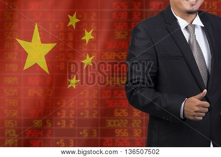 Flag Of China. Downtrend Stock Data Diagram With Business Man