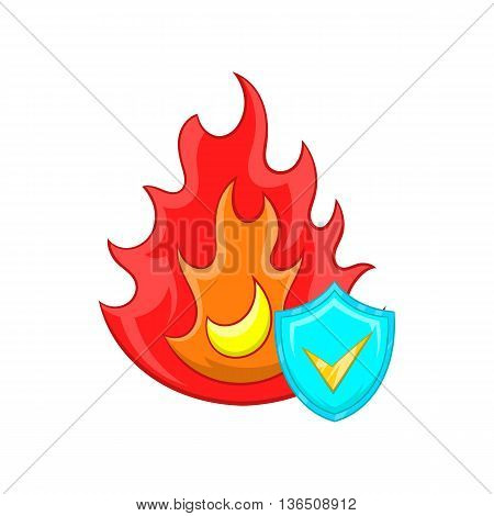 Fire and sky blue shield with tick icon in cartoon style on a white background