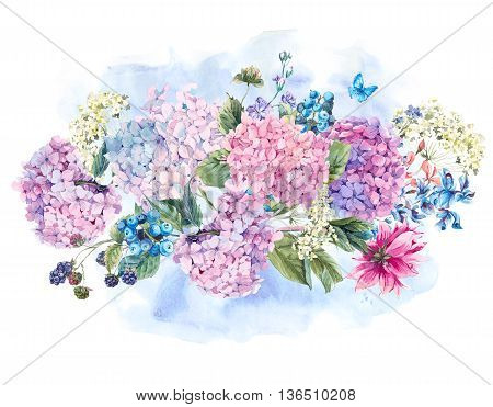 Summer Watercolor Vintage Floral bouquet with Blooming Hydrangea and garden flowers, Watercolor botanical natural hydrangea Illustration isolated on white