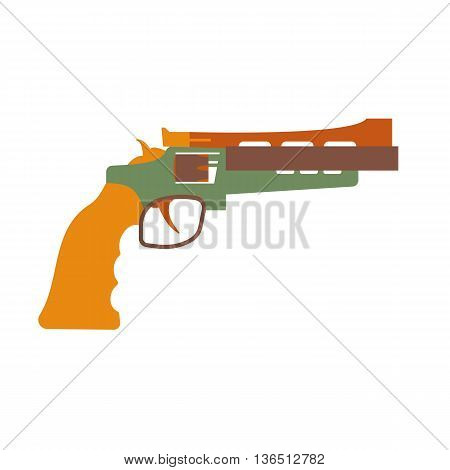 Hunting ammunition. Cartoon revolver icon, vector illustration