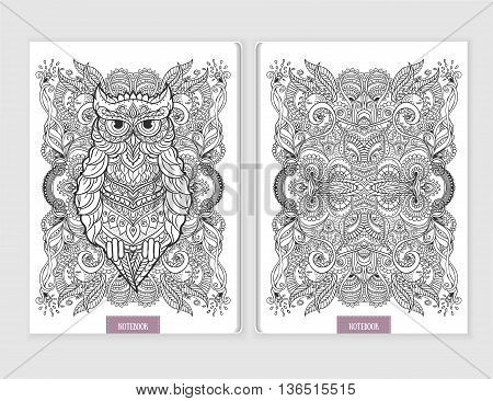 Ornament print Owl notebook. Beautiful illustration Owl for design, print coloring, polygraphy. Adult Coloring book. Hand drawn animal illustration. Lace Owl and mandala ornamental page