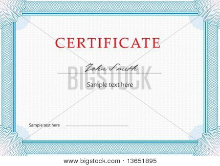 Classic guilloche border for diploma or certificate. Layers are separated! Vector.