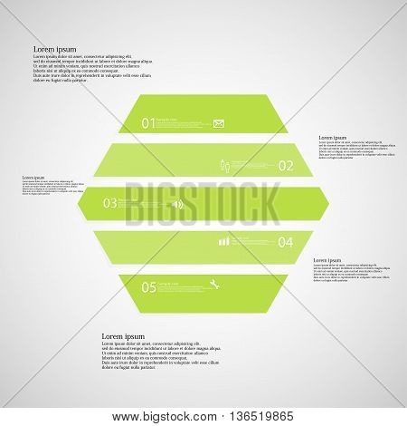 Hexagonal Infographic Template Consists Of Five Green Parts On Light Background