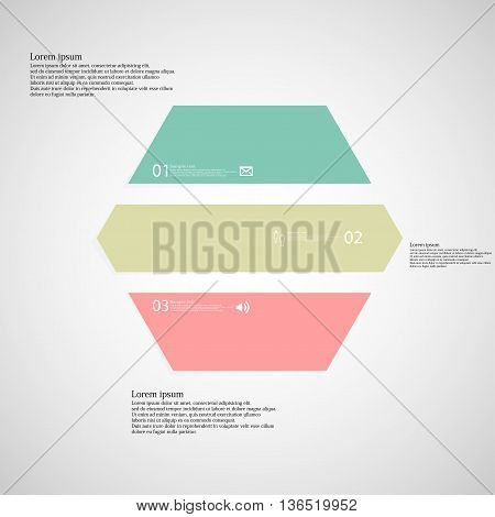 Hexagonal Infographic Template Consists Of Three Color Parts On Light Background