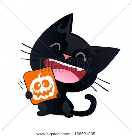 Funny cat isolated on white background. Comic cat character for Halloween. Funny black cat in cartoon style. Vector illustration.