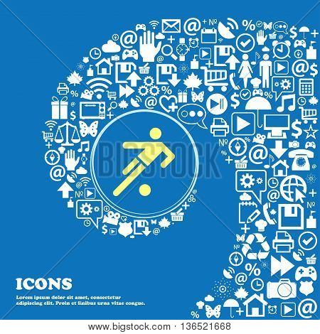 Football Player Icon . Nice Set Of Beautiful Icons Twisted Spiral Into The Center Of One Large Icon.