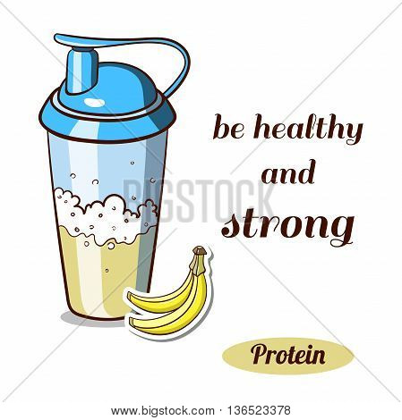 Sport nutrition. Protein shaker isolated on white background. Banana protein powder. Vector illustration.