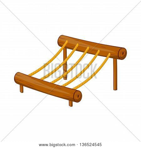Children rope ladder icon in cartoon style isolated on white background. Entertainment for children symbol