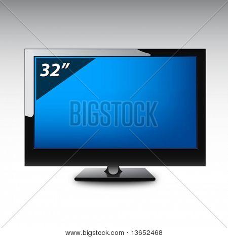 Plasma LCD TV. Vector.