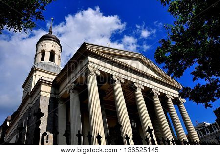 Baltimore Maryland -July 23 2013: Baltimore Basilica built in 1821 with its neo-classical Greek west front was the first Catholic cathedral built in the USA *