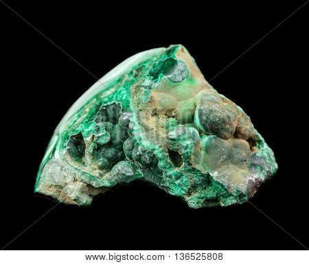Collection mineral specimen of green malachite copper ore isolated on a black background poster