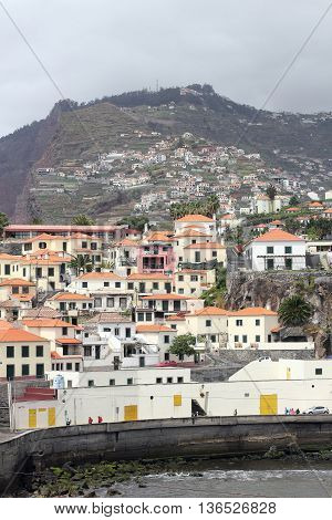 Panorama of the former fishermen's village Camara de Lobos on the Portuguese Atlantic island Madeira