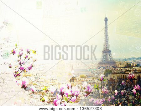 Vintage postcard of skyline of Paris city roofs with Eiffel Tower at spring day with tree bloom, France, retro toned