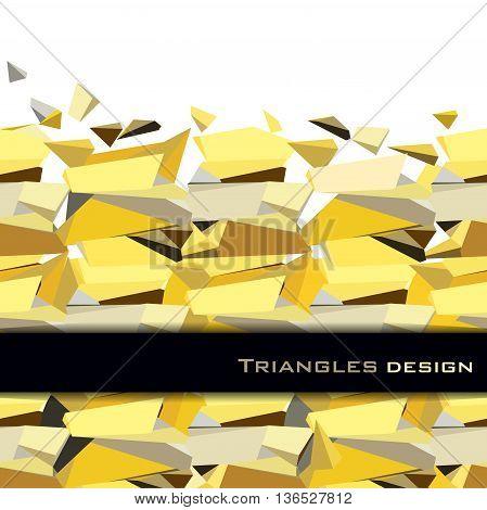 Golden crystal geometric abstract triangles border design with black stripe on white background. Golden abstract geometric background. Horizontal gold border. Golden vector illustration stock vector.