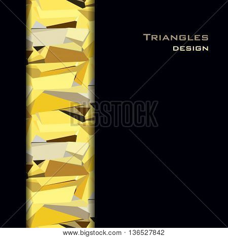 Black gold abstract geometric background. Vertical gold border geometric design. Gold and black geometric abstract triangles border design on black background. Golden vector illustration stock vector.