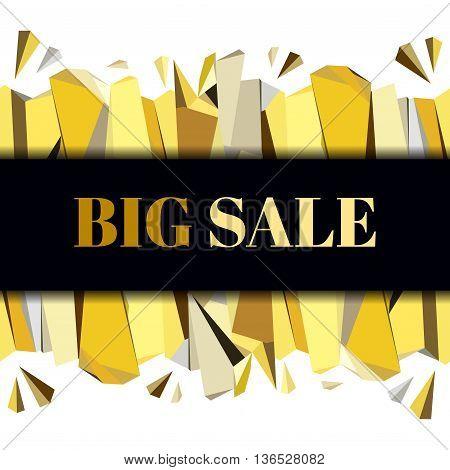 Black gold big sale banner. Horizontal gold border geometric design. Gold and black geometric abstract triangles border design on black background. Golden vector illustration stock vector.
