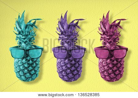 Colorful Pineapple Fruit With Hipster Sunglasses
