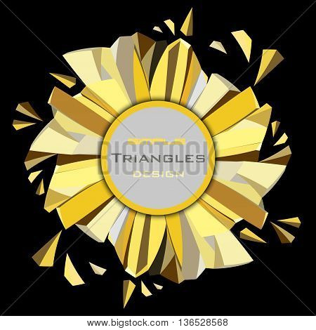 Golden abstract geometric background. Circle gold border geometric frame with label. Golden crystal geometric abstract triangles frame on black background. Golden vector illustration stock vector.