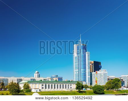Minsk, Belarus - May 19, 2015: Business Center Royal Plaza is skyscraper On Pobediteley Avenue In District Nemiga Or Nyamiha In Minsk, Belarus